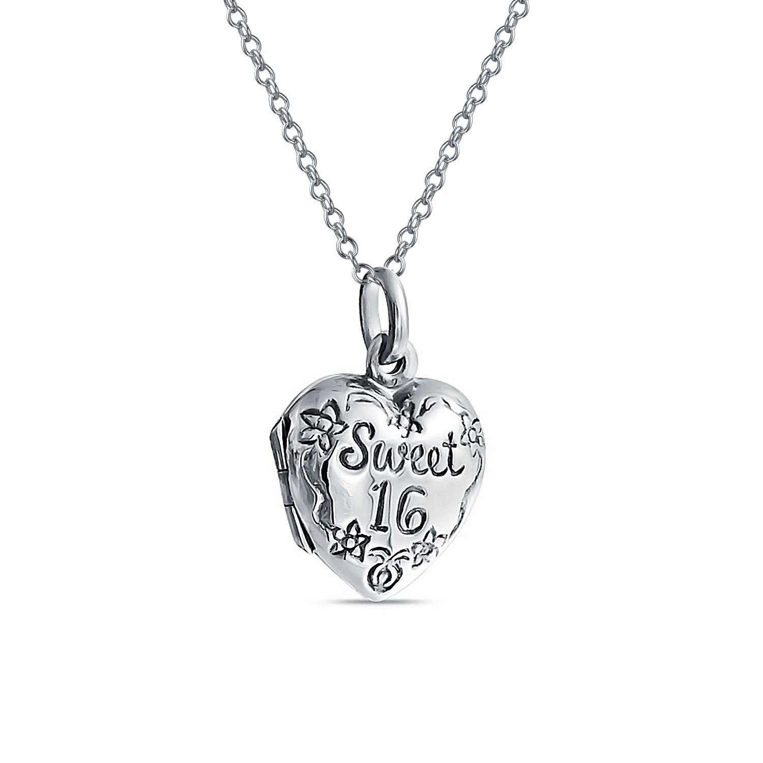 Bling Jewelry Flower Sweet 16 Heart Locket Pendant Sterling Silver Necklace 18 Inches PMR-L10124