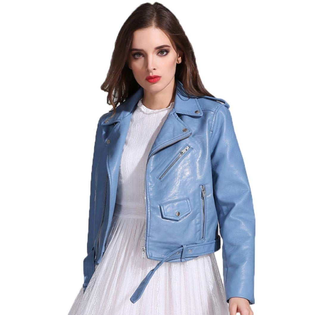 MGXXH New Motorcycle Pu Leather Jacket Female Turn-Down Collar Short Faux Soft Coat