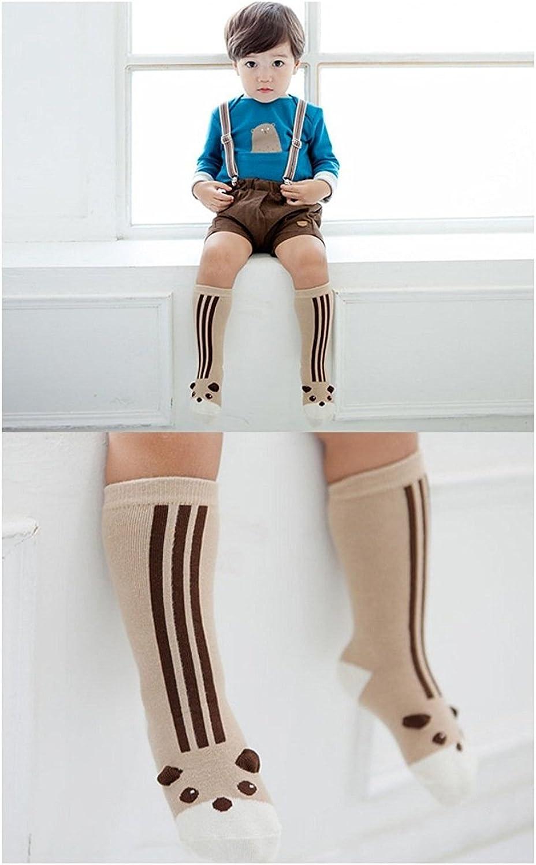 0-4T Baby Boys Girls Non Skid Cotton Socks Knee High Toddler Socks 6 Pairs