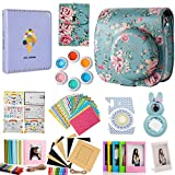 Flylther Compatible Mini 8 9 Camera 12-in-1 Accessories Bundles Set for Fujifilm Instax Mini 8 9 Instant Film Camera(Case,Albums,Frames,Film Stickers,Colored Filters,Selfie Lens) - Blue Flower