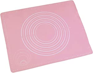 Kneading Mat Food Grade Thickened Silica Gel Mat Panel Plastic Cutting Board Non Stick And Mat Household Rolling Baking Tool (Color : Pink, Size : Large)