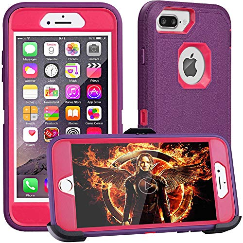 iPhone 8 Plus Case,iPhone 7 Plus Case,iPhone 6 Plus Case,FOGEEK[Dust-Proof]Belt-Clip Heavy Duty Kickstand Cover[Shockproof] PC+TPU for Apple iPhone 7 Plus,iPhone 6/6s Plus(Purple and ()