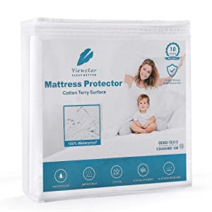 viewstar 100% Waterproof Mattress Protector, Cooling Cotton Bed Protector Cover for Full Size Mattress, Breathable and Vinyl Free Hypoallergenic Noiseless 18 inch Deep Pocket (54 x 75inch)