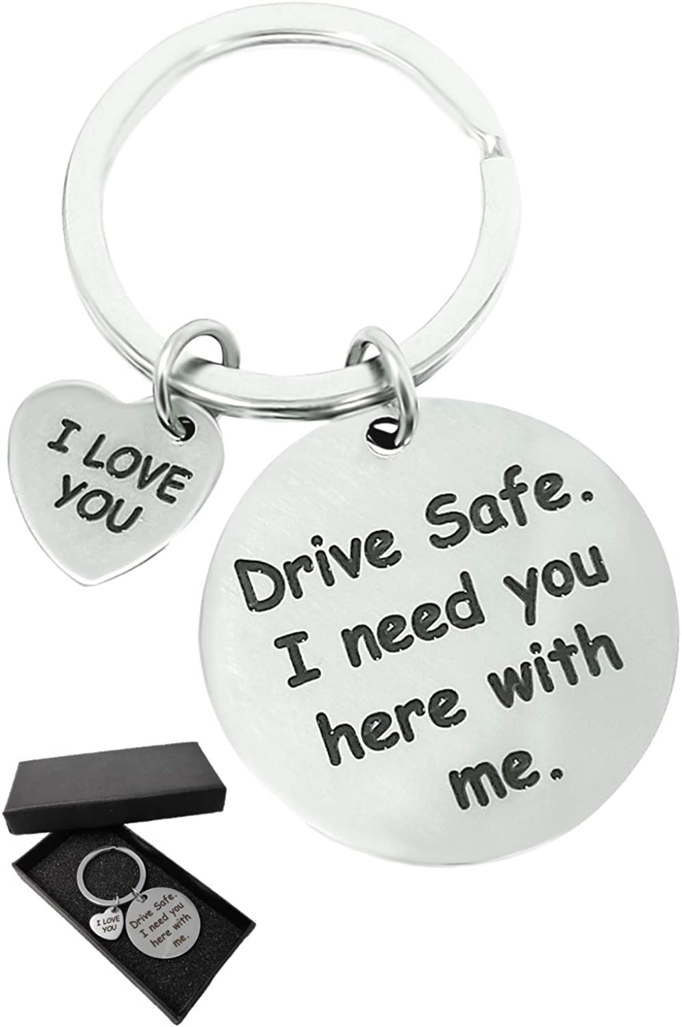 Jim Guyver Drive Safe - I Love You - I Need You Here With Me Keychain Gift - For Girlfriend Boyfriend Valentine Dad Husband Sister & Brother - Bring A Smile To Daughter Son On Birthday