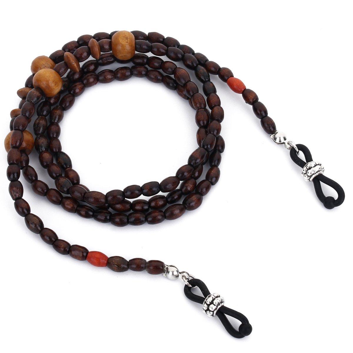 Mini Tree Wood Bead Eyeglass Chain Sunglasses Strap Reading Glasses Holder (Brown)