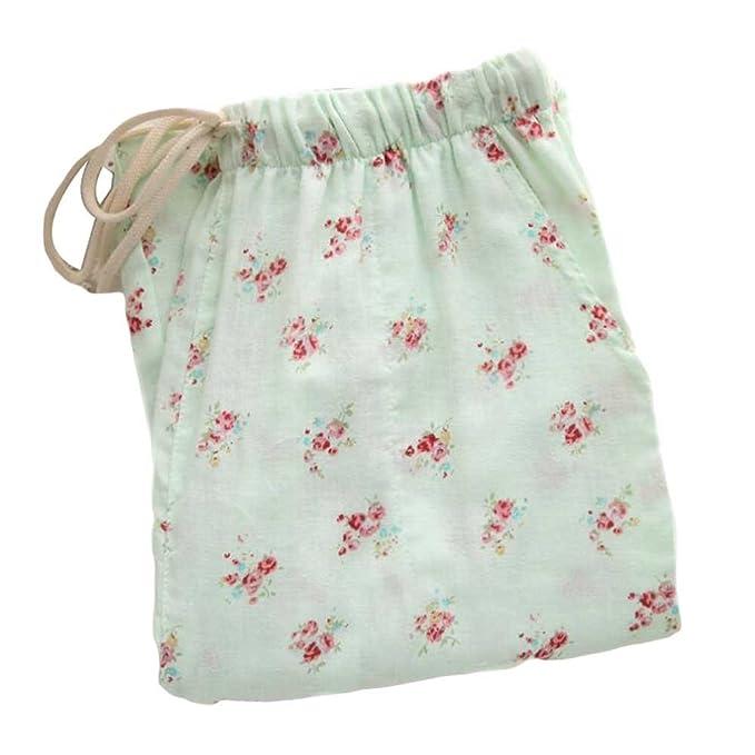 [Green Floral] Ropa Interior de Algodón para Mujer Pantalones de Pijama Sueltos Pantalones de