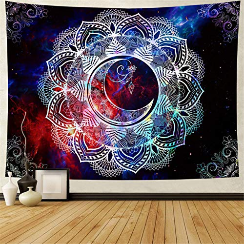 Ameyahud Mandala Tapestry Starry Night Tapestry Mandala Celestial Moon Star Tapestry Wall Hanging Colorful Abstract Tapestry Bohemian Psychedelic Wall Tapestry Hippie Trippy Tapestry for Living Room