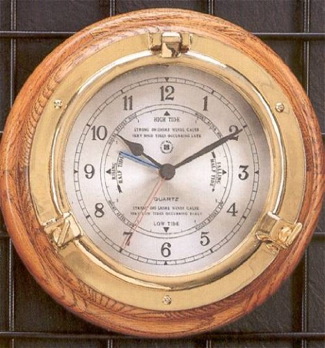 Bey-Berk SQ528 Lacquered Brass Porthole Tide & Time Quartz Clock on Oak Wood. - Brass Clock Porthole Quartz