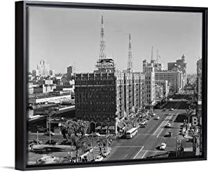1950's View of Downtown and Greyhound Bus Station San Diego CA USA Black Floating Frame Canvas