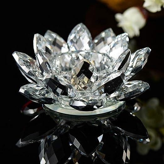 Zariavo Store - Portavelas de Cristal con diseño de Flor de Loto 80 mm