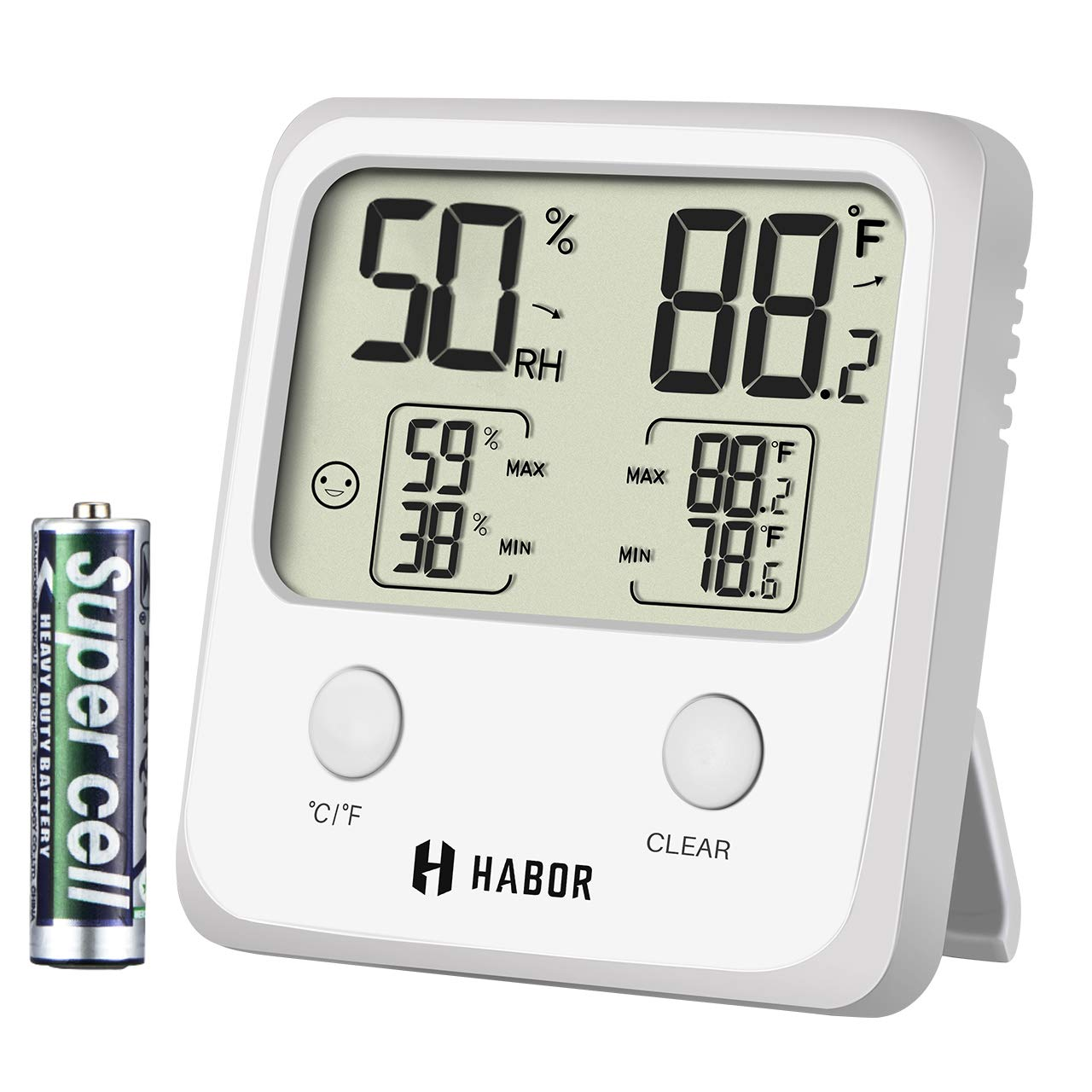 Habor Upgraded Digital Indoor Hygrometer Large LCD Screen Temperature Humidity Monitor, High Accuracy Room Thermometer Home Office Greenhouse Cellar, (3.3 X 3.2 Inch), White HPHBHM221AW