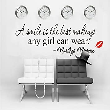 A Smile Is The Best Makeup MARILYN MONROE WALL STICKER PAPER QUOTE DECAL ART  Decor