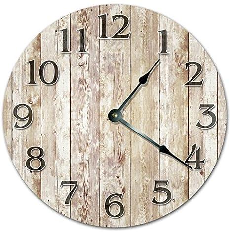 12 reloj de madera antiguo tableros de madera reloj - Farmhouse reloj - grande 12 - Reloj de pared reloj de decoración para el hogar: Amazon.es: Hogar