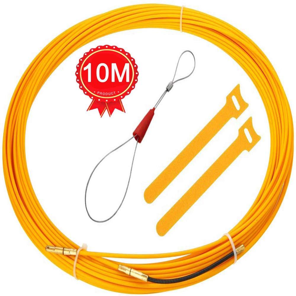 Kit de Enhebrado de Cables Electricistas Alambre Threading Dispositivo TLYCRQJXF 10m Guia Pasacables Amarillo Enhebrador de Alambre Electrico
