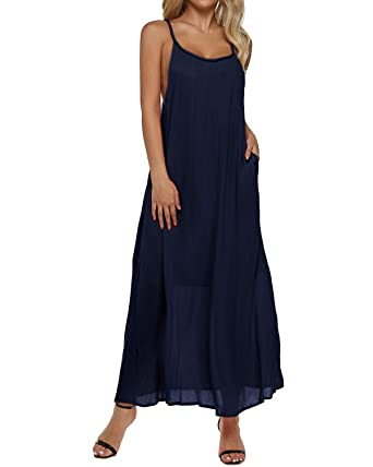 ce68b0dea07 Auxo Women s Sleeveless Maxi Dress Backless Spaghetti Strap Boho Beach  Sundress Navy S