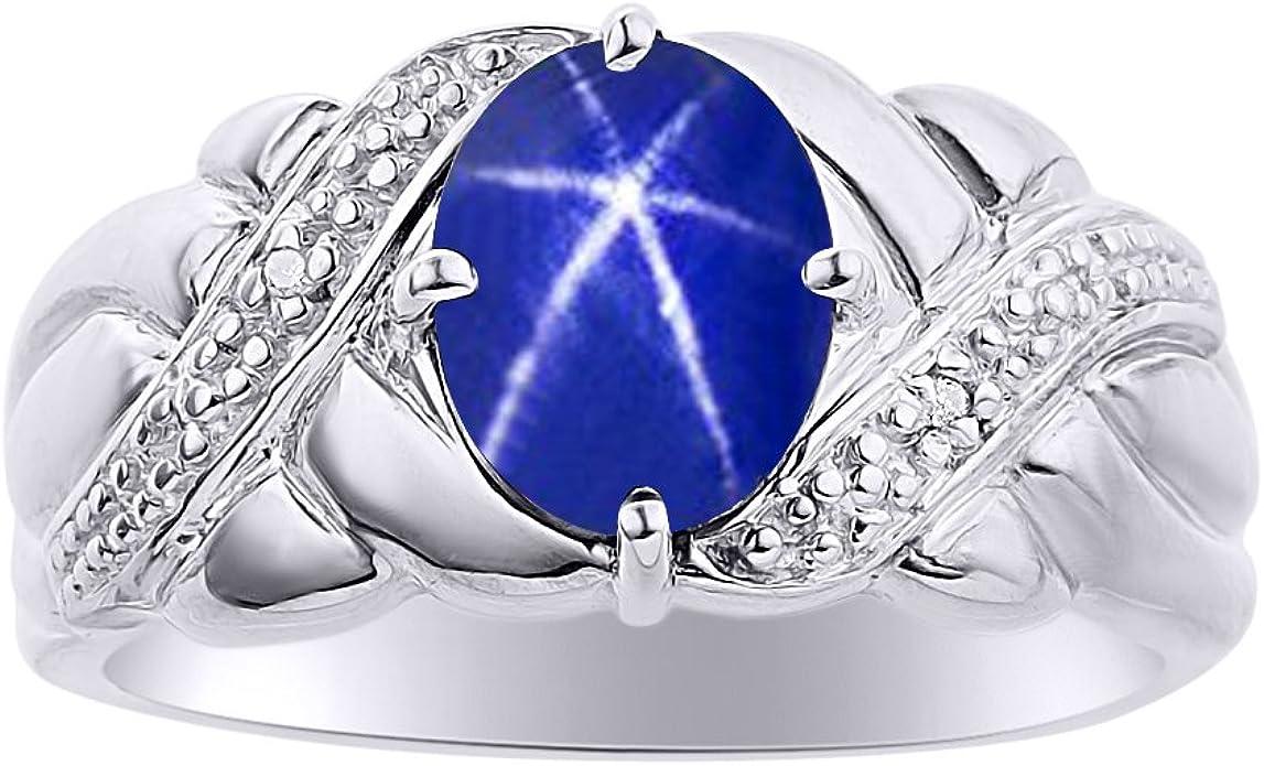 40s Size 5 14 Retro 4 Carat Blue September Birthstone Fine Jewelry Created Star Sapphire Ring 14k White Gold Genuine Diamond Statement