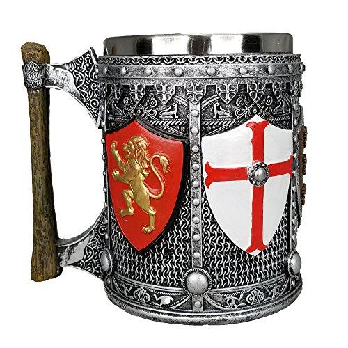 Medieval English Crest Tankard Mug 20 oz Coffee Stainless Steal Insert Stein ()