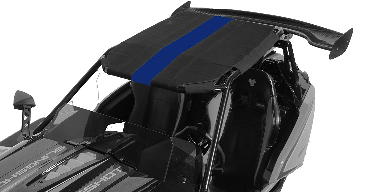 Black//Gray Stripe Twist Dynamics Canvas with Stripe for Metal Protective Top Roof Weather Rain Sun Shade Protection for the Polaris Slingshot