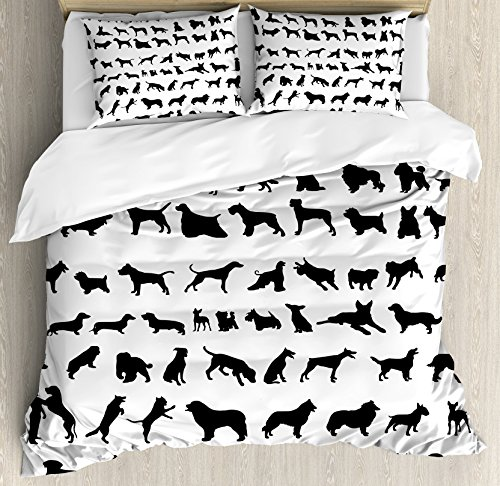 Dog Lover Decor Queen Size Duvet Cover Set by Ambesonne, Silhouettes Different Breeds of Dogs Chow Chow Bulldog Shepherd Pinscher Spaniel St Bernard, Decorative 3 Piece Bedding Set with 2 Pillow Shams
