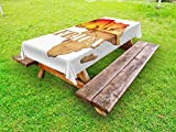 Lunarable African Outdoor Tablecloth, Africa Map with Wood Tree Texture and Giraffe Figures Fantasy Spiritual Continent, Decorative Washable Picnic Table Cloth, 58 X 104 inches, Orange Tan