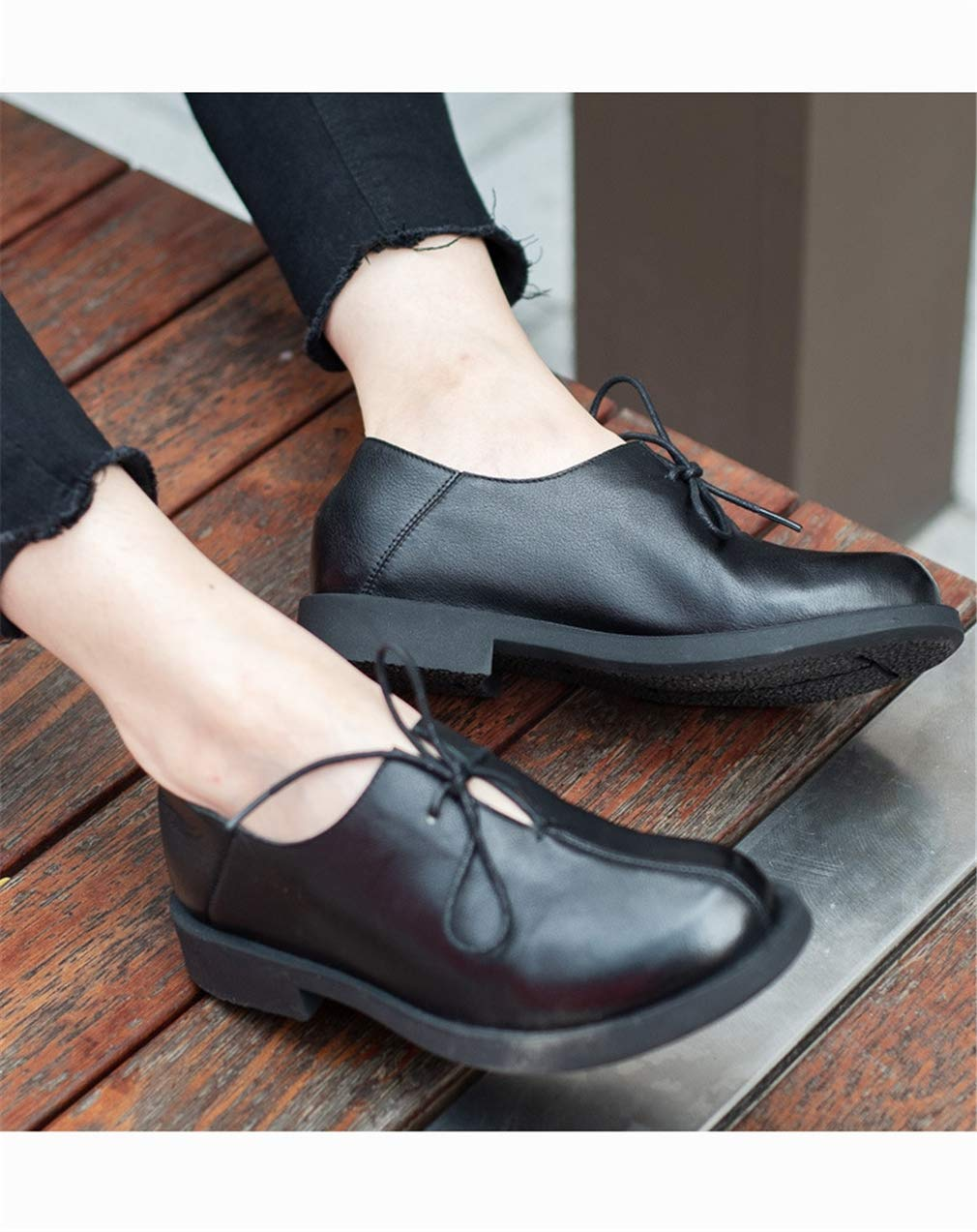 YAN Damenschuhe Frühlingshünfspiel Leder Low-Top Fashion Casual schuhe Fashion Low-Top Lace-Up Comfortschuhe Comfort Loafers A 36 7c93bb