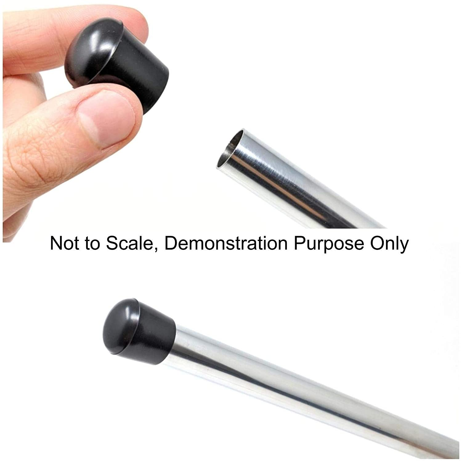 Rubber Ferrules with Hard-Wearing Steel Insert Range of Sizes Made in Germany Black, 18mm - See Second Image Before Ordering This Size, Pack of 8 Multipurpose Feet