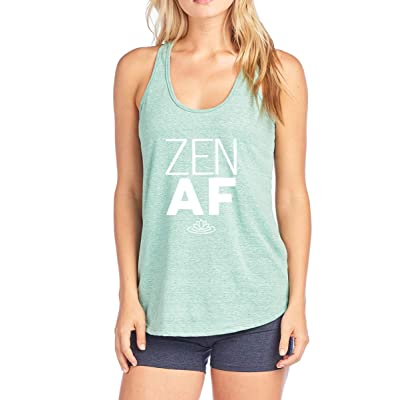 Tough Cookie's Women's Flowy Triblend Tank Top with Zen AF Print (Made in USA): Clothing