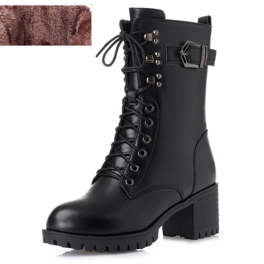 Black fluff Genuine Leather Women Military Boots Women Martin Boots -Heeled Thick Wool Boots