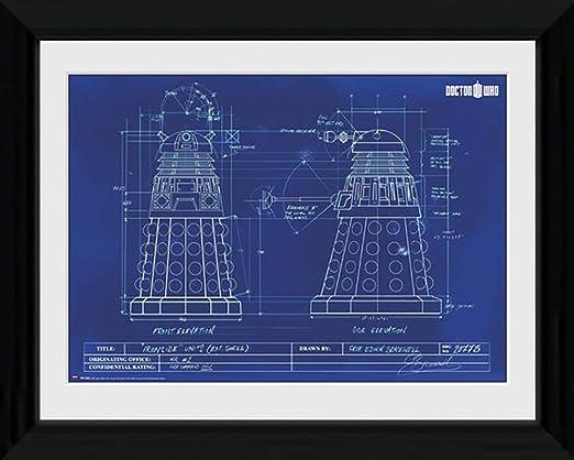 Doctor Who Dalek Blueprint Framed /& Mounted Print