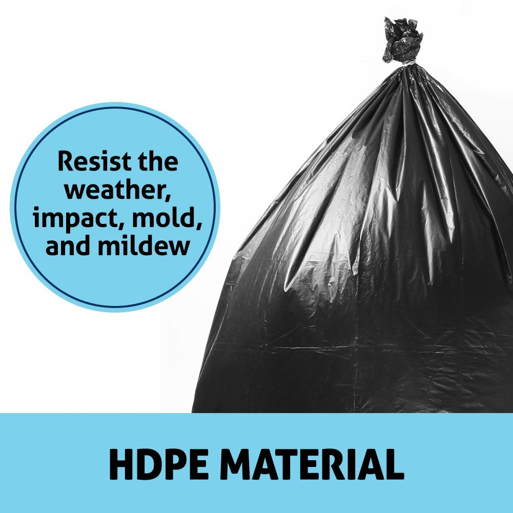 Duty Trash Bag | 50 counts 65 gallons Capacity Heavy-Duty 1.5 mil Thickness No Leak or Tear Weatherproof Low-Density Can Liners | 47'' x 55'' HDPE Puncture-Resistant Black Garbage Bag | 1580 by Big Bag Trash (Image #4)