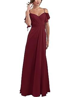 a448f22bb4 CLOTHKNOW Spaghetti Chiffon Bridesmaid Dresses Long with Shoulder Ruffles