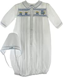 8aa65e4d8bde Boys Layette Set Gown   Hat with Train Smocking Friedknit Creations