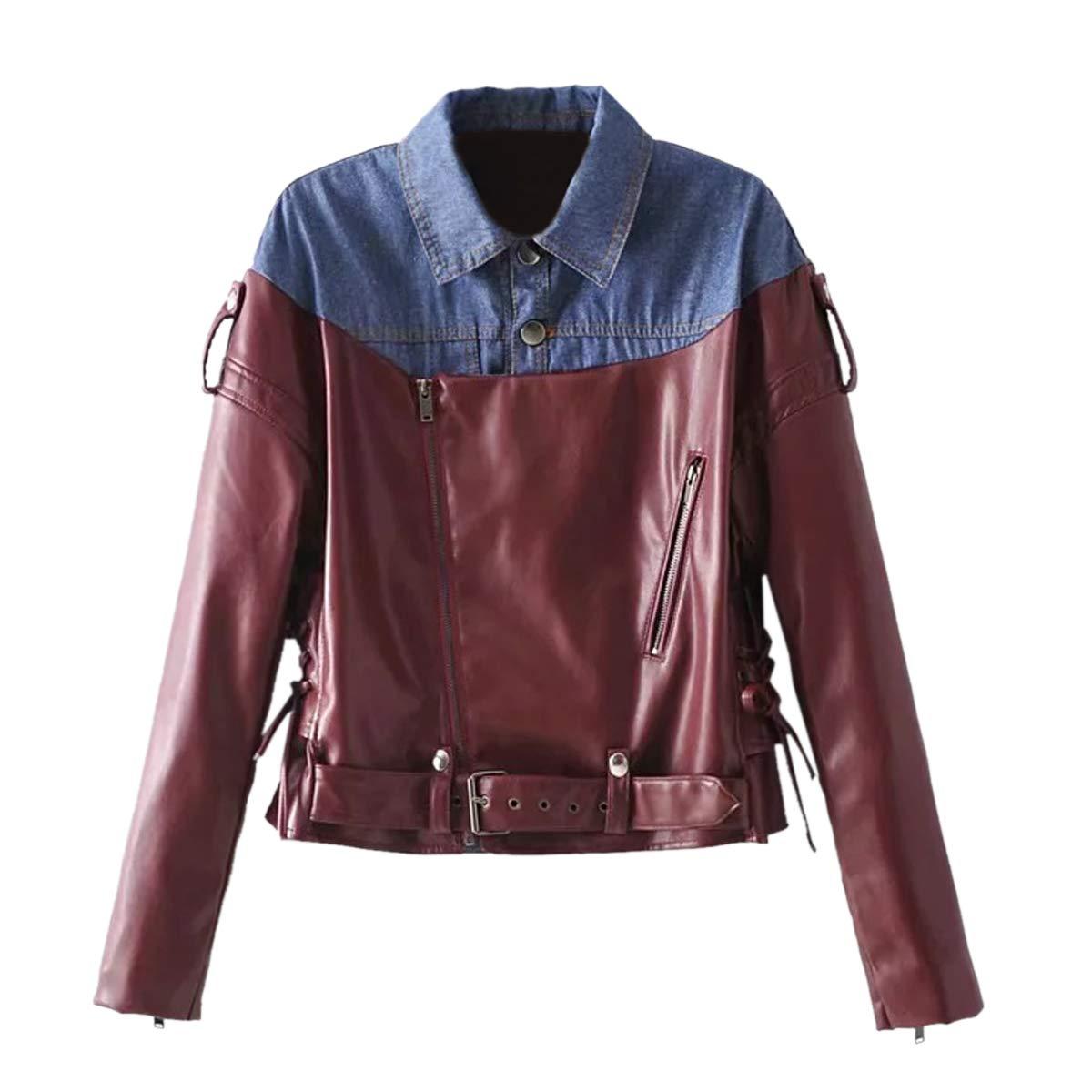 Deep red Denim Patchwork Jacket color Block Zipper Coat Women PU Motorcyle Jacket