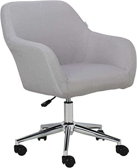 Amazon Com Homefun Home Office Chair Grey Cute Modern Desk Chair Upholstered Linen Fabric Task Chair For Bedroom Living Room Adjustable Swivel Vanity Chair Kitchen Dining