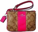 Coach Signature PVC Leather Small Wristlet 52860 Khaki Pink Ruby