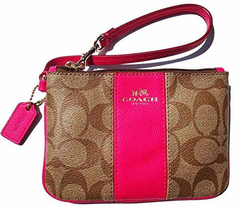 Free Coach Signature PVC Leather Small Wristlet 52860 Khaki Pink Ruby