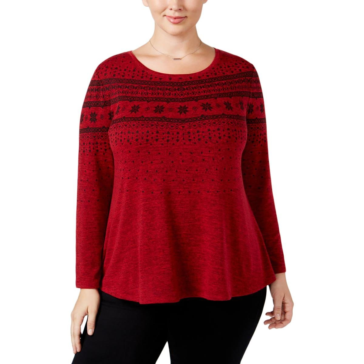 Style & Co.. Womens Pattern Swing Blouse Red 1X