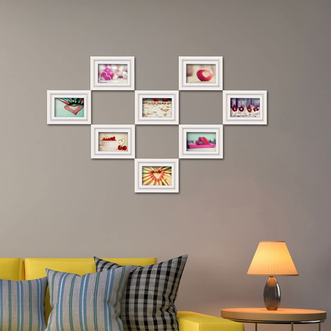 5x7 Picture Frame Set Hold 5 by 7 inch Prints Wall Mounting White Photo Frames Set of 8