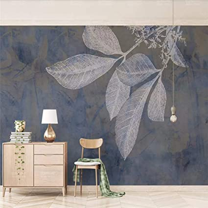 Amazoncom Wall Mural 3d Wallpaper Navy Blue Lines Leaf