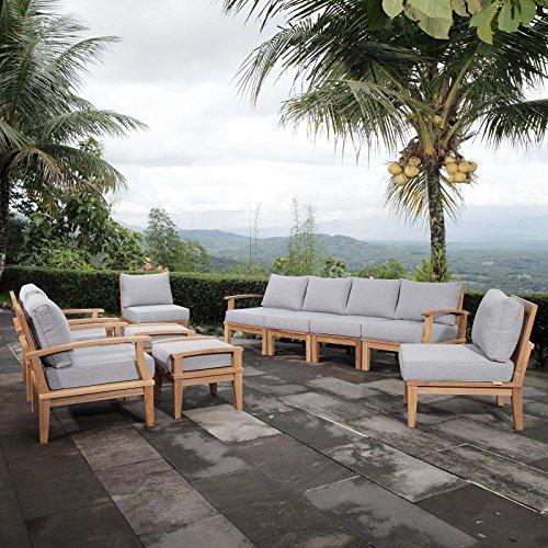 Modway EEI-1489-NAT-GRY-SET Marina Premium Grade A Teak Wood Outdoor Patio Furniture Set, 10 Piece, Natural Gray (Teak Grade A Furniture)