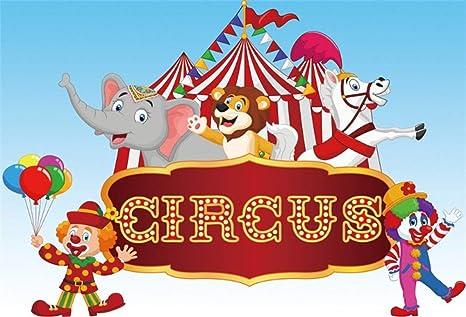 GzHQ 10x8ft Payaso Circo Fotografía Telón Fondo Elefante ...
