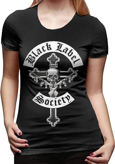 Black Label Society Womans Summer Casual T-Shirt Short Sleeve O Neck Shirts Tops Classic Short Sleeve T-Shirt White