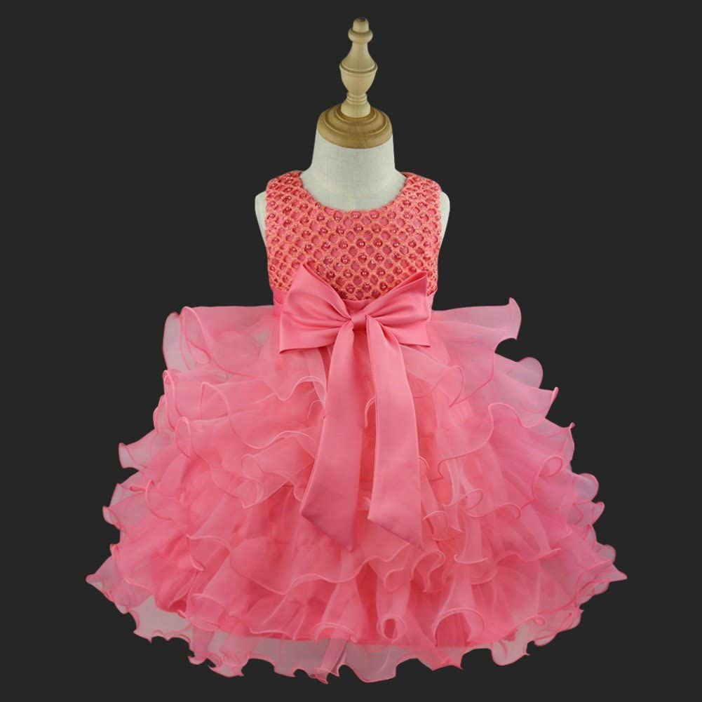 iixpin Kids Baby Girls First 1st Birthday Bowknot Dress Wedding Party Flower Girl Ruffles Dresses