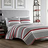 White, Grey and Red Cotton with Reversible, 3-Piece King Quilt Set and Stripe Pattern Includes Scented Tart
