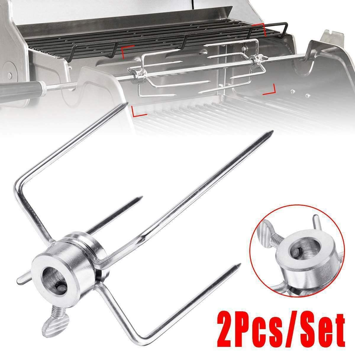 Basage 2Pcs BBQ Rotisserie Meat Forks Clamp Grill Meatpicks Stainless Steel Barbecue Skewer