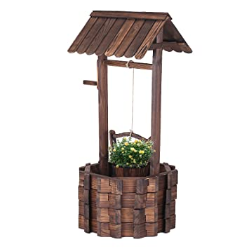 Awesome IKayaa 12u0026quot; Wooden Wishing Well Planter Bucket Outdoor Yard Home  Decoration