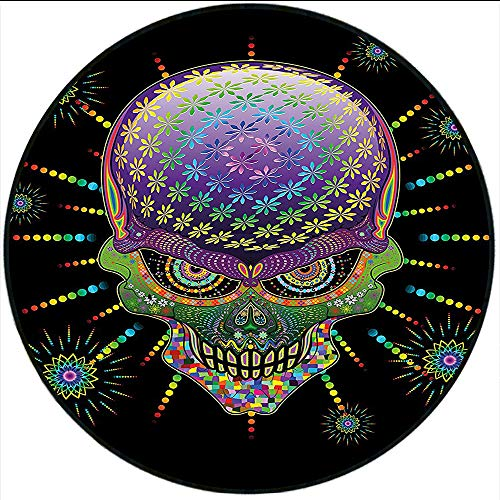 (Short Plush Baby Crawling mats Psychedelic Digital Mexican Sugar Skull Festive Ceremony Halloween with Ornate Effects Design Floor playmats Children's Room 55