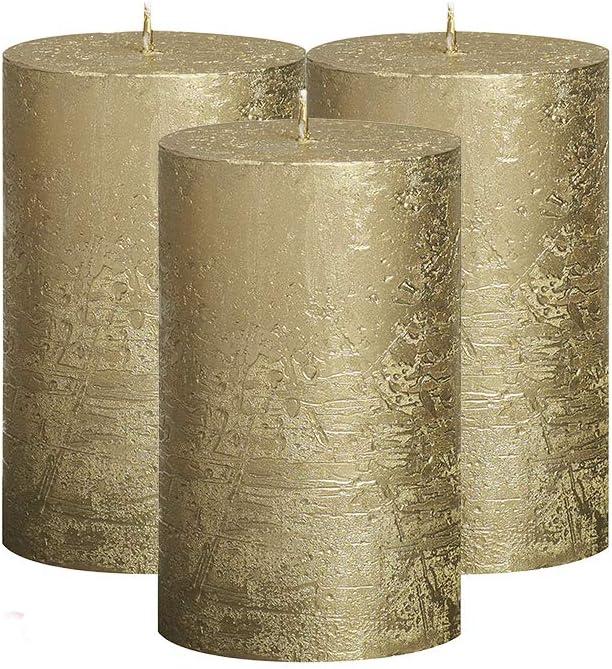 BOLSIUS Unscented Pillar Candles - Rustic Full Metallic Gold Candle 2.75