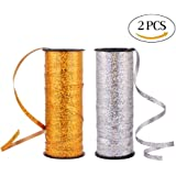 CCINEE ピカピカ カーリングリボン バルーンリボン 風船用リボン 装飾用リボン プレゼント ラッピング パーティー 誕生日 2個セット