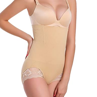 bca1cf91a9 High Waist Trainer Tummy Butt Lifter Body Shaper for Womens Seamless Thigh  Thong Plus Size at Amazon Women s Clothing store